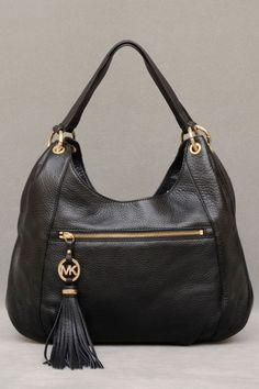 Michael Kors Large Charm Tassel #38F3XTSE3L Black Leather Shoulder Tote!