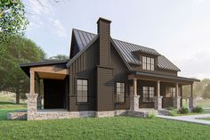 A blend of horizontal and vertical siding adorns the facade of this exclusive, farmhouse plan, where nearly each side of the home offers a covered porch for outdoor enjoyment.The open-concept living space is ideal for entertaining, and combines the kitchen, dining area, and family room. A large island in the kitchen maximizes workspace, and ample storage space is offered by the nearby pantries.The main-floor, master suite - with vaulted ceiling - considers your future needs, and includes an… Dream House Plans, House Floor Plans, Country House Plans, Master Suite, Vertical Siding, Porch Plans, Modern Farmhouse Exterior, Sweet Home, House Colors