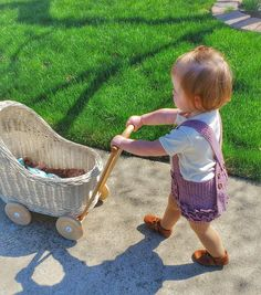 Wiklibox natural wicker & wood doll stroller in ECRU (creamy) color. Dolls Prams, Wicker, Little Girls, Wood, Handmade Gifts, Bags, Montessori, Etsy, Vintage