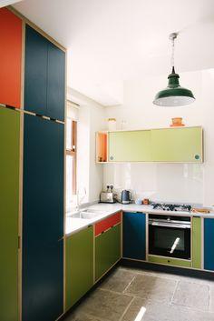 Wood & Wire Bespoke Plywood Kitchen ] Orange Navy and Green kitchen. Kitchen Interior, Kitchen Inspirations, Kitchen Design Small, Diy Home Interior, Kitchen Remodel, Kitchen Dining Room, Plywood Kitchen, Kitchen Dining, Home Kitchens