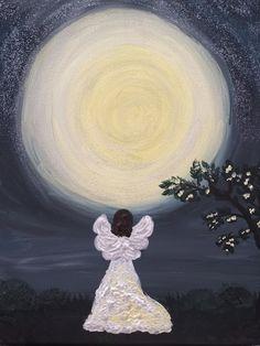 acryl on the canvas Angel, Celestial, Fine Art, Canvas, Outdoor, Women, Tela, Outdoors, Canvases