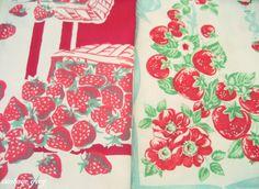 yummy vintage strawberry tablecloths
