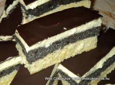 Mákos krémes Hungarian Desserts, Hungarian Cake, Hungarian Recipes, Cookie Desserts, Fun Desserts, Cookie Recipes, Dessert Recipes, Torte Cake, Cake Bars