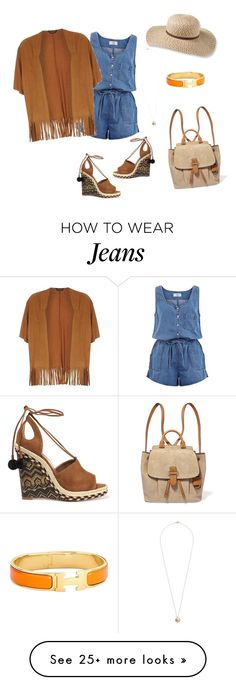 """jeans romper"" by abirzizou-shopaholic on Polyvore featuring New Look, Aquazzura, Dorothy Perkins, Hermès, L.L.Bean and MICHAEL Michael Kors"