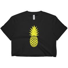 Pineapple Crop Top Pineapple Shirt Beach Top Women's Clothing... ($25) ❤ liked on Polyvore featuring tops, black, crop tops, women's clothing, white shirt, white crop shirt, pineapple top, classic fit shirt and beach tops