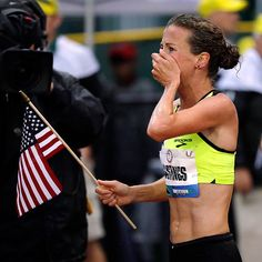 Amy Hastings after winning the 10k at the US Olympic trials