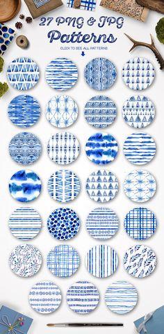 Indigo blue watercolour patterns set by Smotrivnebo on @creativemarket