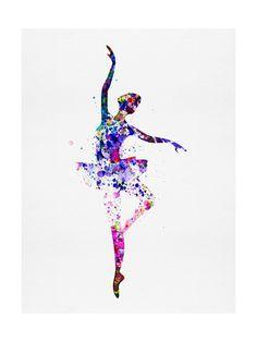 Ballerina Dancing Watercolor 2 Art Print at AllPosters.com
