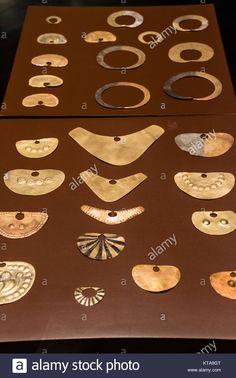 Pre-Columbian Jewelry Lambayeque/Sicán culture 700 AC-1375 AC Perú . Museum of Banco Central de Reserva del Perú. Hugo Cohen collection. Stock Photo