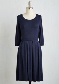 Quebec and Call Dress - Blue, Stripes, Print, Casual, A-line, 3/4 Sleeve, Fall, Knit, Good, Mid-length