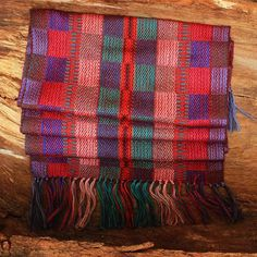 Purple Plaid Scarf Colorful Scarf Hand by ArtisansintheAndes