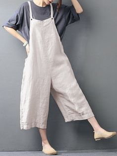 Hot-sale O-NEWE Casual Loose Pure Color Strap Pocket Wide-legged Jumpsuits - NewChic Mobile Plus Size White Jumpsuit, Plus Size Romper, Baggy Jumpsuit, Casual Jumpsuit, Bandeau Jumpsuit, Burgundy Jumpsuit, Jumpsuit Dress, Dungarees, Casual Pants