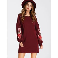 fbc5a9760099c SheIn(sheinside) Embroidered Appliques Balloon Sleeve Dress ($19) ❤ liked on  Polyvore