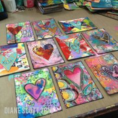 Diane's Mixed Media Art - Valentine ATCs; all made with recycled junk mail. :)