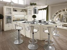 Cozy French Home Decor: Good Looking Traditional White Painted Wood Kitchen With Stainless Steel Single Seat Chair And Cabinet Also Oven Mounted Contemporary French Provincial Kitchens Country Style ~ enferd.com Decoration Inspiration