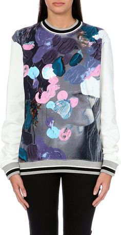 MSGM Floral Painterly-print Cotton-jersey Sweatshirt 96 #LaPETITEBlog @Lyst