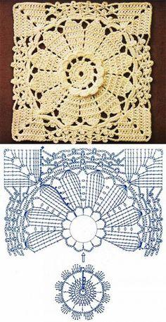 Transcendent Crochet a Solid Granny Square Ideas. Inconceivable Crochet a Solid Granny Square Ideas. Crochet Motif Patterns, Crochet Blocks, Granny Square Crochet Pattern, Crochet Diagram, Crochet Squares, Filet Crochet, Granny Squares, Crochet Granny, Mode Crochet