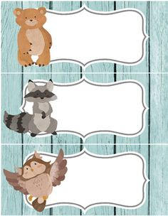 """Add whimsy and fun to your classroom with 2 pages of large labels with woodland animals your students will love. Easily editable in word. 81/2"""" by 11"""" or print out in smaller sizes by printing them out as an image.With a little tape add them to: bins, folders, and bulletin boards etc.Animals include: a bear, an owl, a squirrel, a rabbit, and a raccoon.If you download these labels, please leave a quick review/rating so I can grow my store."""