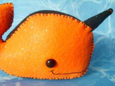 Orange and Black Narwhal Narwhale Plush Art Doll ooak by MyWillies, $15.00