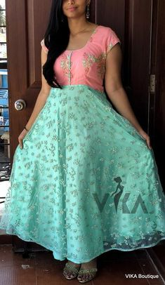 Rich Designer maxi dress in pink top and sea green embroidered net with satin lining Chest - can be altered to 38 Party Wear Maxi Dresses, Gown Party Wear, Party Wear Indian Dresses, Indian Gowns Dresses, Dress Indian Style, Dress Neck Designs, Fancy Blouse Designs, Kurti Designs Party Wear, Salwar Designs