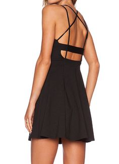 Black Criss Cross Backless Pleated Dress -SheIn(Sheinside) Mobile Site