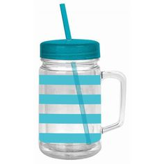 Turquoise Stripe Mason Jar Tumbler