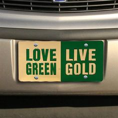 """Love green, live gold"" #USF license plate."