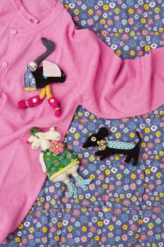 RICE cardigan and Brooches