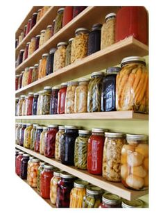 A shelf for all my preserves, Gasp! Jeremy and I just were talking about how to do this to display all of our beautiful canned food! Love it <3
