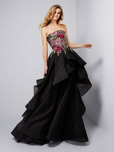 Vestido de fiesta negro falda a capas - Colección fiesta 2018 Pronovias