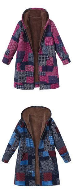 O-NEWE Vintage Block Printing Hooded Coat For Women