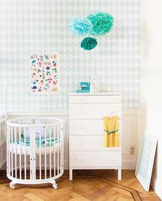 Stokke Sleepi Mini Crib in White via Baby Room Decor, Nursery Room, Boy Room, Kids Bedroom, Nursery Decor, Aqua Nursery, Nursery Ideas, Mini Crib, Kids Corner