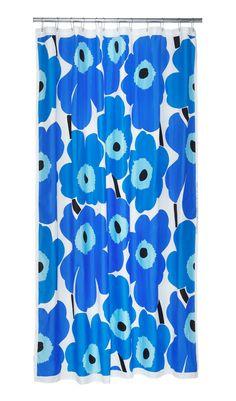 Unikko blue shower curtain