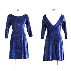 90s dark blue crushed velvet dress with 3/4 by TimeTravelFashions