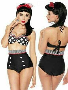 Fashion Cutest Retro Swimsuit Swimwear Vintage Pin Up High Waist Bikini Set Rockabilly Outfits, Rockabilly Fashion, Rockabilly Style, Rockabilly Clothing, Rockabilly Rebel, Pole Dance, The Bikini, Sexy Bikini, Bikini Swimsuit