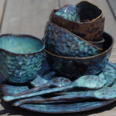 """Vrubel"" #pottery #ceramic #ceramics #crockery #dishes #tableware #dinnerware #голубой #blue #синий #посуда #тарелка #чашка #глазурь #ручнаяработа #лепка #керамика #глина #vsco #vscocam #vscopottery #stillife #натюрморт #vscoceramics #clay #glaze #handmade #set #spoon #ложки"