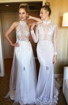 2369b60ea5c Mermaid High Neck White Lace Sweep Train Long Sleeves Prom Dress With  Appliques