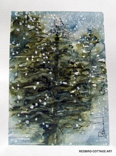 Special Black Friday - Cyber Monday Price, Snowy Trees, Watercolor Landscape Painting