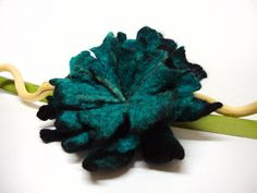 Hand felted flower brooch turquoise and black by GabardineCouture, 28.00