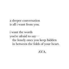 i want that deeper connection