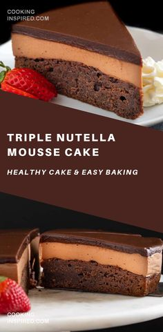 This triple Nutella mousse cake features a rich Nutella brownie base topped with a layer of luscious Nutella mousse filling and a layer of soft Nutella ganache. Homemade Nutella Recipes, Healthy Cake Recipes, Delicious Desserts, Dessert Recipes, Nutella Ganache, Ganache Cake, Nutella Brownies, Baking Desserts, Cake Baking
