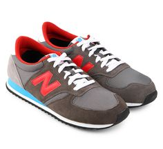 Mens Lifestyle Tier 3 420 by New Balance. 420 sneakers with leather and textile upper, rubber sole, classic sneakers style asymmetric overlays and contrast paneling, with a combination of  blue, red and gray color. http://www.zocko.com/z/JIuQg