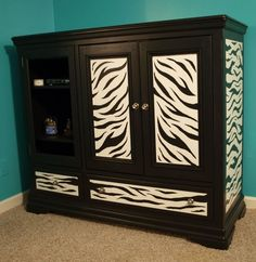 Replace zebra print with White & Teal chevron print