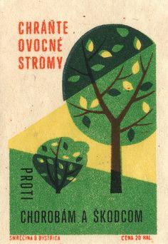 Hungarian matchbook art from Jane McDevitt Vintage Packaging, Vintage Labels, Tree Illustration, Graphic Illustration, Vintage Graphic Design, Graphic Art, Vintage Prints, Vintage Posters, Matchbox Art