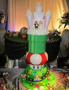 Ultimate Super Mario Bros. Wedding Cake - yes we pinned some Mario cakes already but that one is epic.