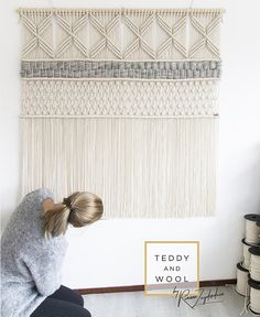 ● FREE WORDLWIDE SHIPPING! The ARYA large macrame tapestry features a modern geometric design, and is designed and handmade by Rianne Zuijderduin in The Netherlands, Europe. This wall hanging is made with 100% high quality twisted cotton cord and is hanging on a round birch wooden