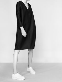 Sleek black dress; chic minimalist style // NON