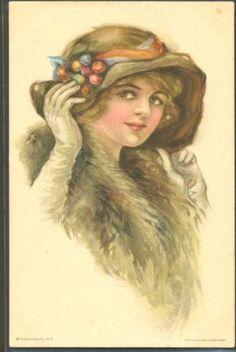 LD185-ART-DECO-a-s-Alice-Luella-FIDLER-FEMME-CHAPEAU-LADY-Large-HAT-FUR