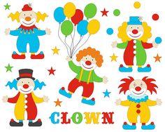 Funny Bright Clowns Clip Art Set, Cirsuc Clipart, Balloons Digital Clip Art…