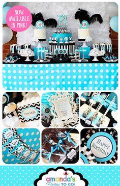 Birthday Party Printable - Monogram - Teen Birthday - Glam - Girl's Birthday - Ladies Birthday -Huge Party Set by Amanda's Parties TO GO